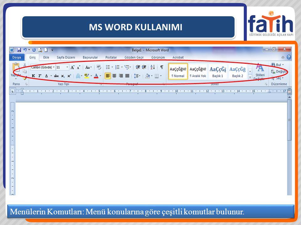 MS WORD KULLANIMI Menülerin Komutları: Menü konularına göre çeşitli komutlar bulunur.