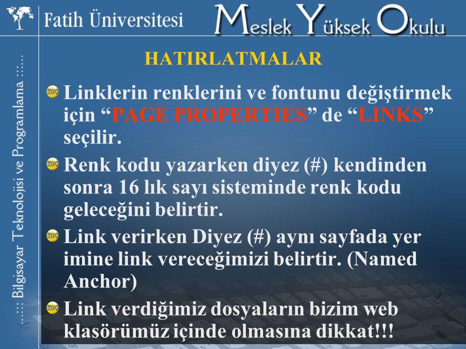 HATIRLATMALAR Linklerin renklerini ve fontunu değiştirmek için PAGE PROPERTIES de LINKS seçilir.