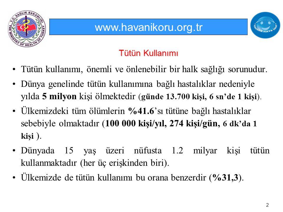 www.havanikoru.org.tr Tütün Kullanımı. Tütün kullanımı, önemli ve önlenebilir bir halk sağlığı sorunudur.