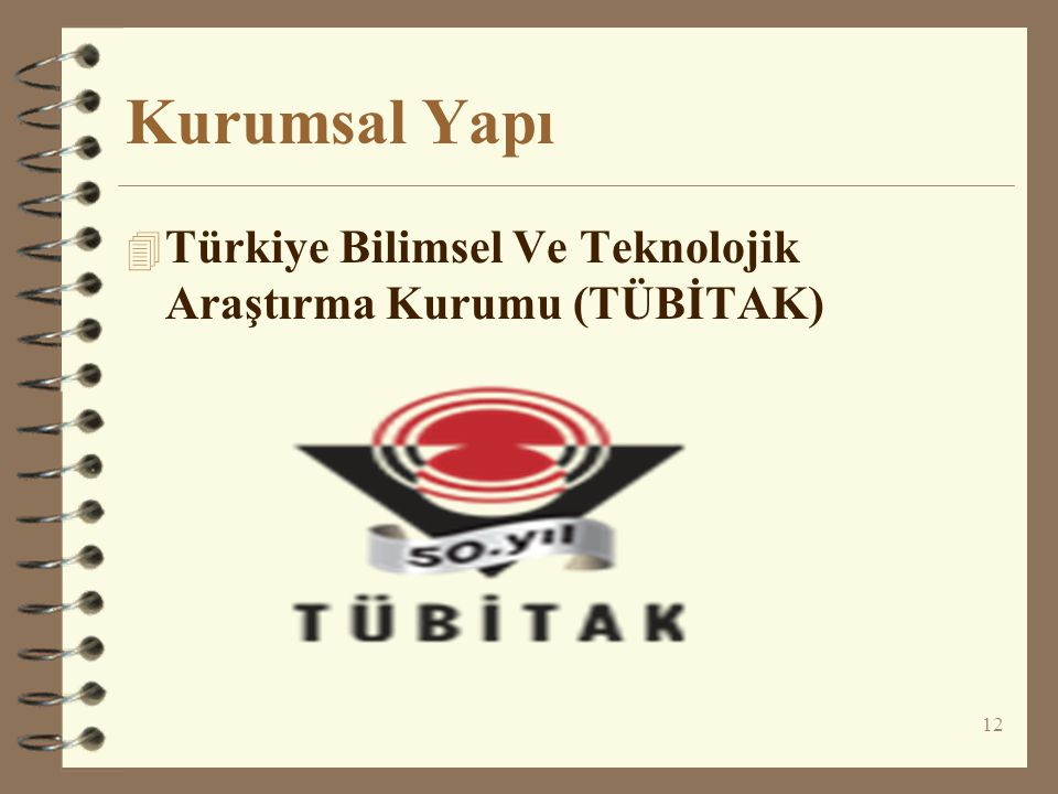 Kurumsal Yapı Türkiye Bilimsel Ve Teknolojik Araştırma Kurumu (TÜBİTAK)