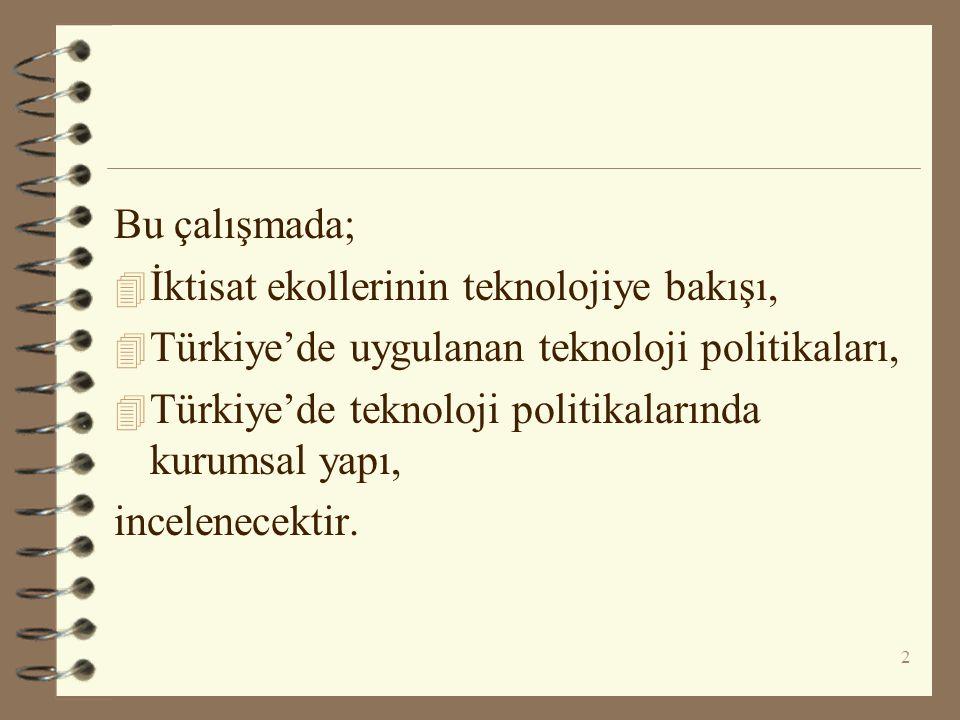 Bu çalışmada; İktisat ekollerinin teknolojiye bakışı, Türkiye'de uygulanan teknoloji politikaları,