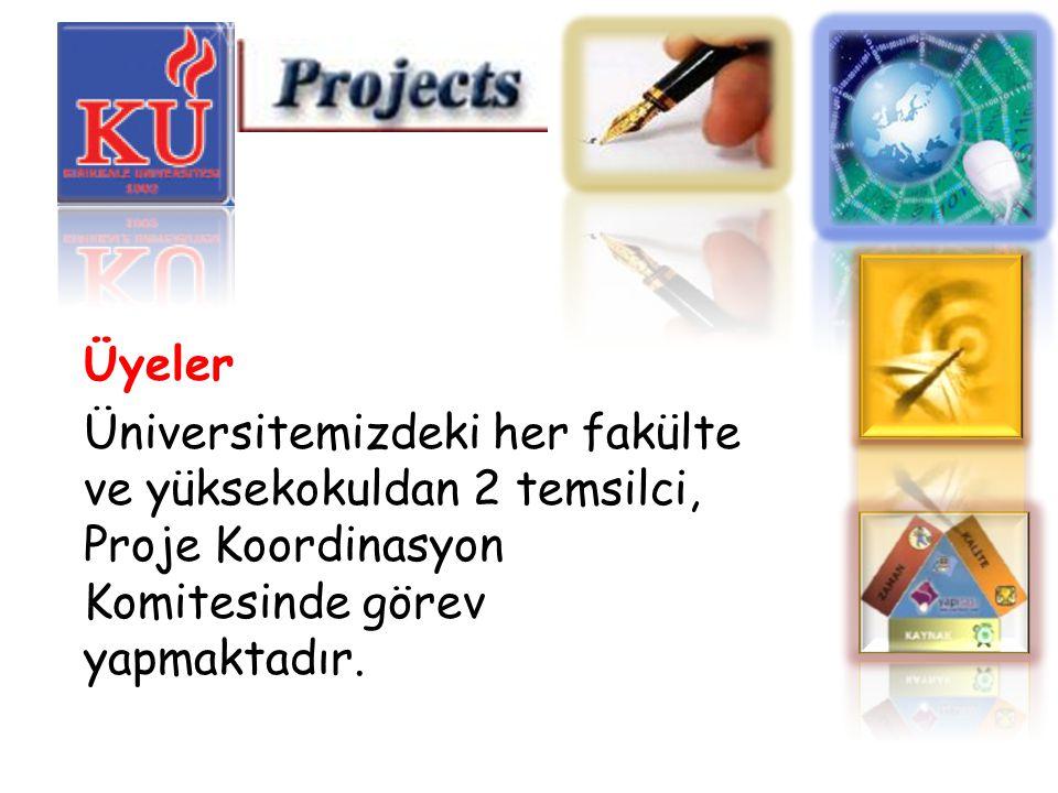Üyeler Üniversitemizdeki her fakülte ve yüksekokuldan 2 temsilci, Proje Koordinasyon Komitesinde görev yapmaktadır.