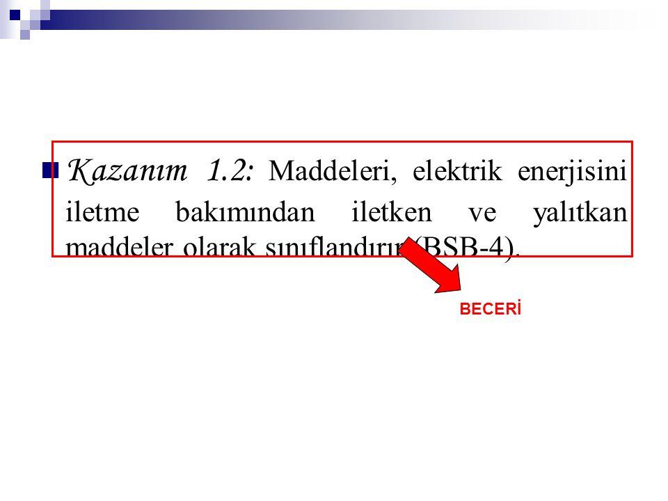 Kazanım 1.2: Maddeleri, elektrik enerjisini iletme bakımından iletken ve yalıtkan maddeler olarak sınıflandırır (BSB-4).