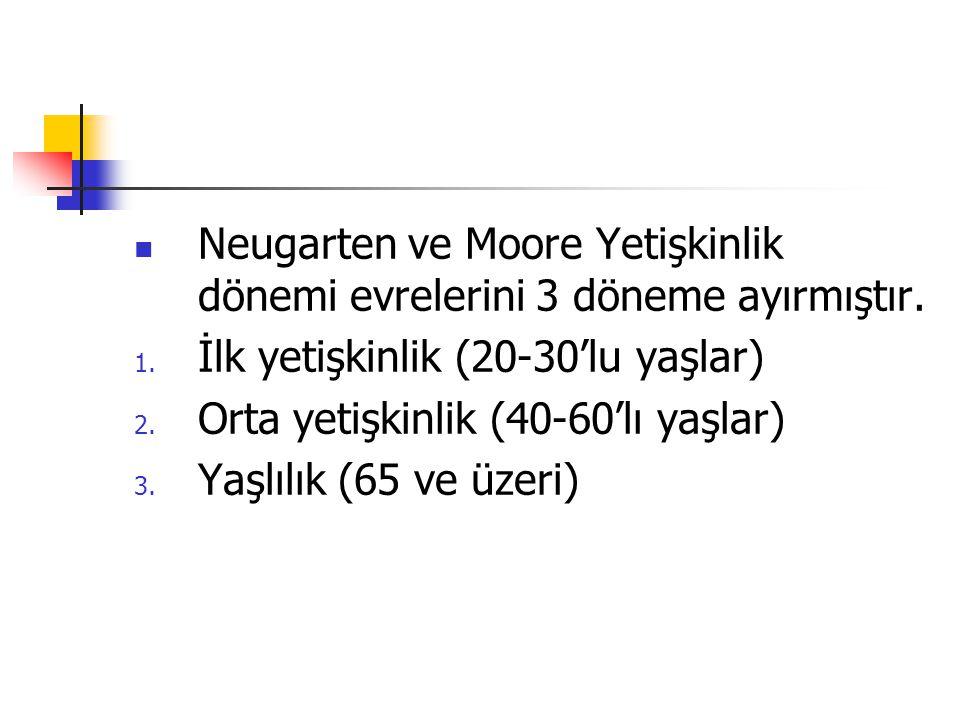 Neugarten ve Moore Yetişkinlik dönemi evrelerini 3 döneme ayırmıştır.