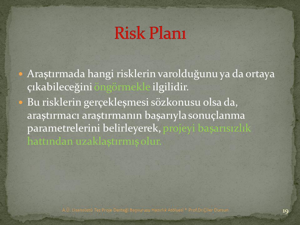 Risk Planı Araştırmada hangi risklerin varolduğunu ya da ortaya çıkabileceğini öngörmekle ilgilidir.