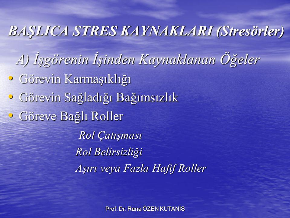 BAŞLICA STRES KAYNAKLARI (Stresörler)