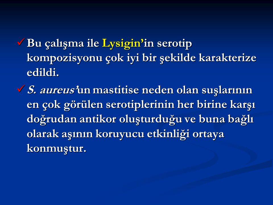 Bu çalışma ile Lysigin'in serotip kompozisyonu çok iyi bir şekilde karakterize edildi.