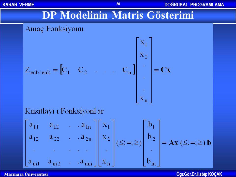 DP Modelinin Matris Gösterimi