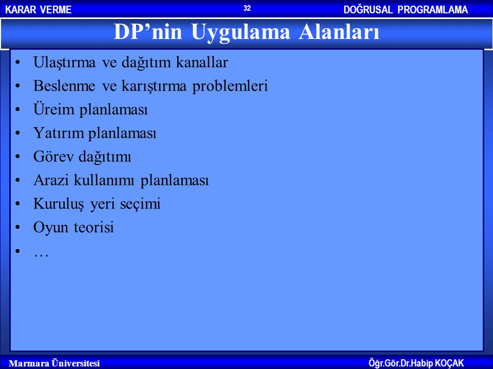 DP'nin Uygulama Alanları