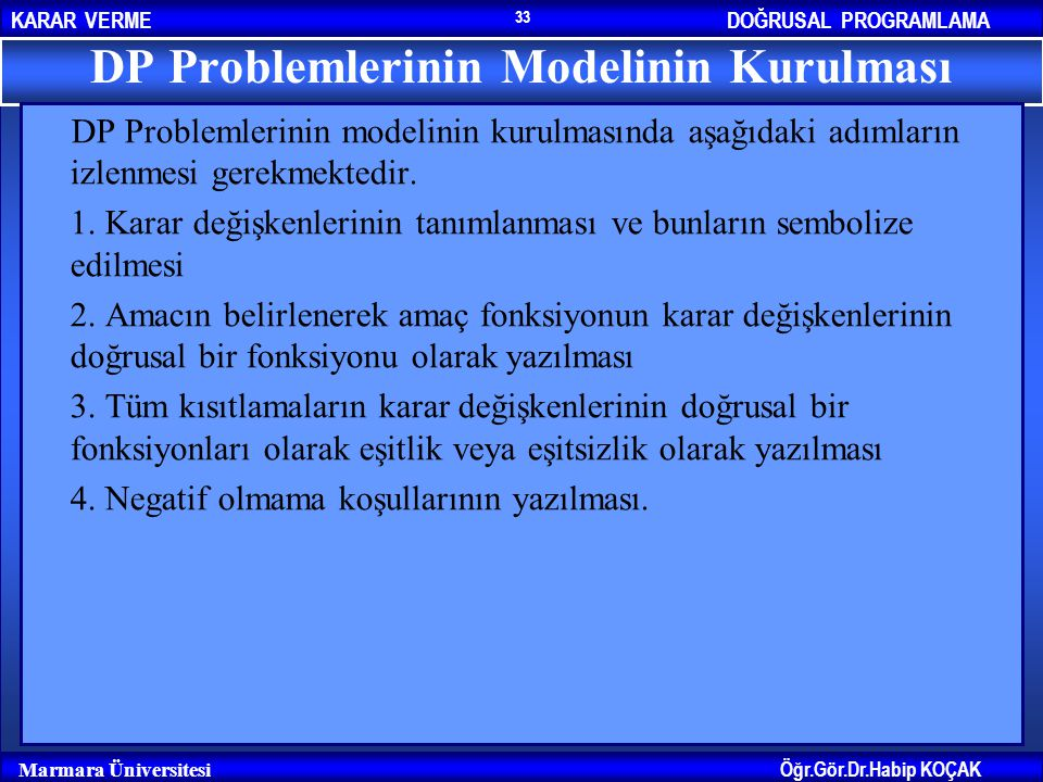 DP Problemlerinin Modelinin Kurulması