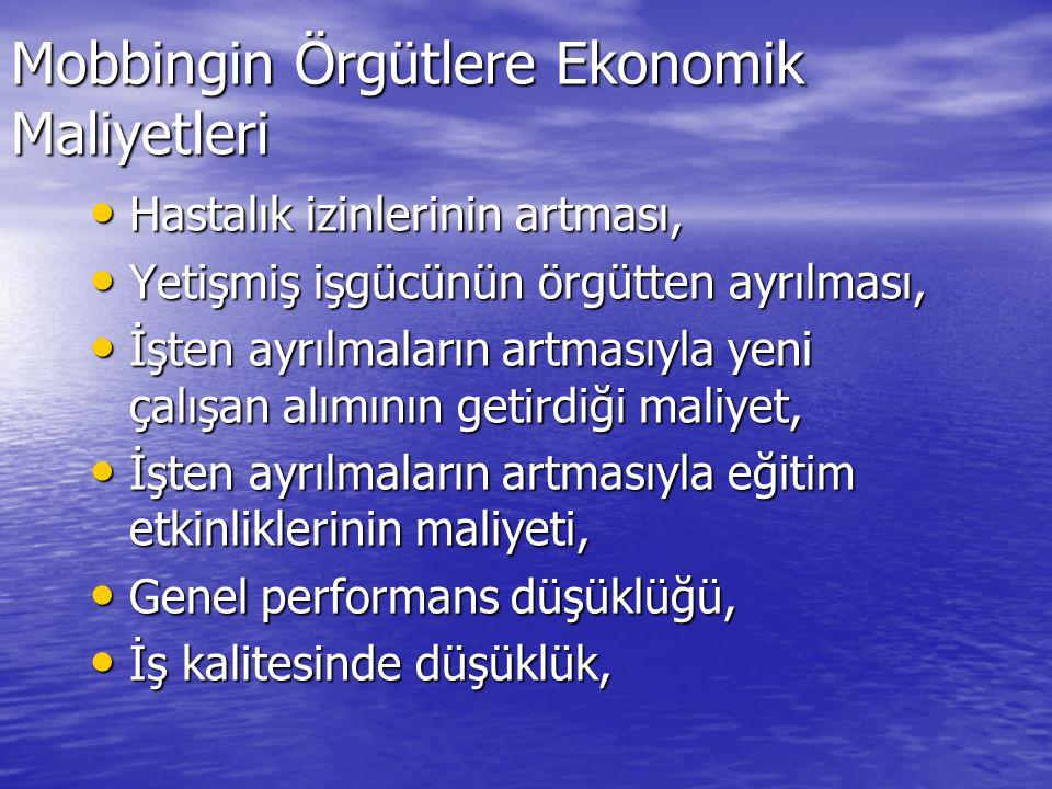 Mobbingin Örgütlere Ekonomik Maliyetleri