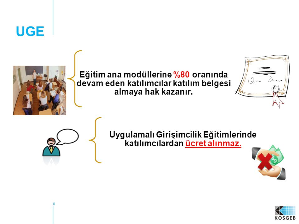 Uygulamalı Girişimcilik Eğitimlerinde katılımcılardan ücret alınmaz.