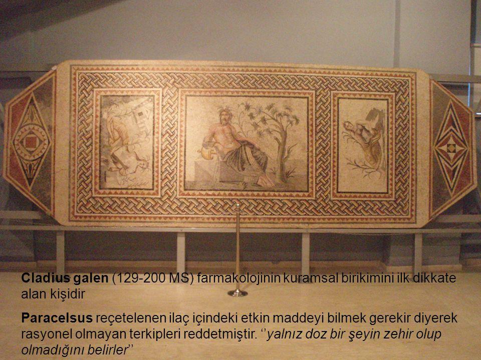 Cladius galen (129-200 MS) farmakolojinin kuramsal birikimini ilk dikkate alan kişidir