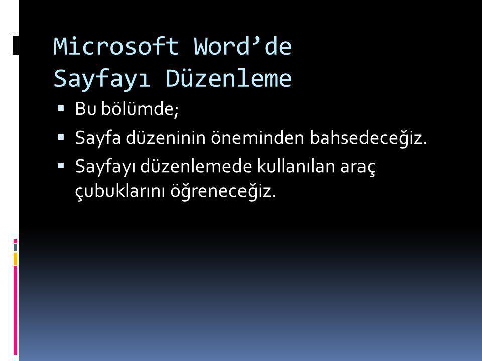 Microsoft Word'de Sayfayı Düzenleme
