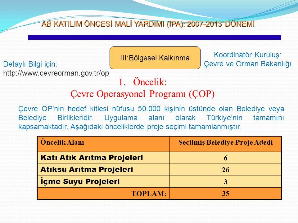 Seçilmiş Belediye Proje Adedi