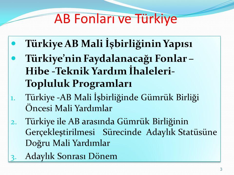 AB Fonları ve Türkiye Türkiye AB Mali İşbirliğinin Yapısı