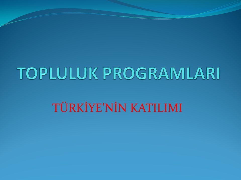 TOPLULUK PROGRAMLARI TÜRKİYE'NİN KATILIMI