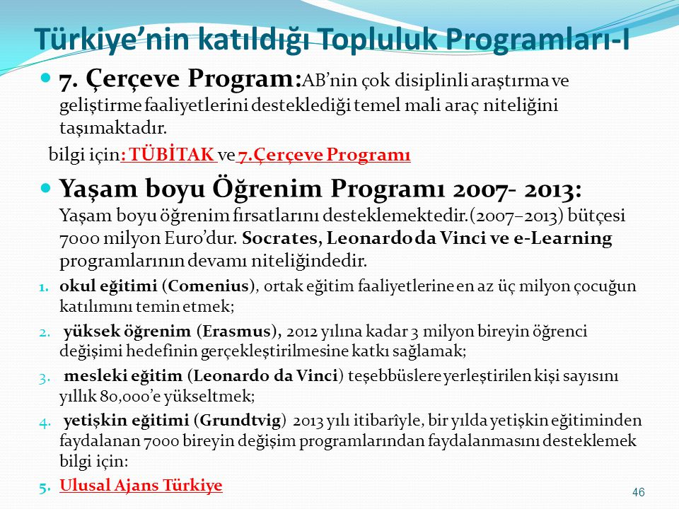 Türkiye'nin katıldığı Topluluk Programları-I