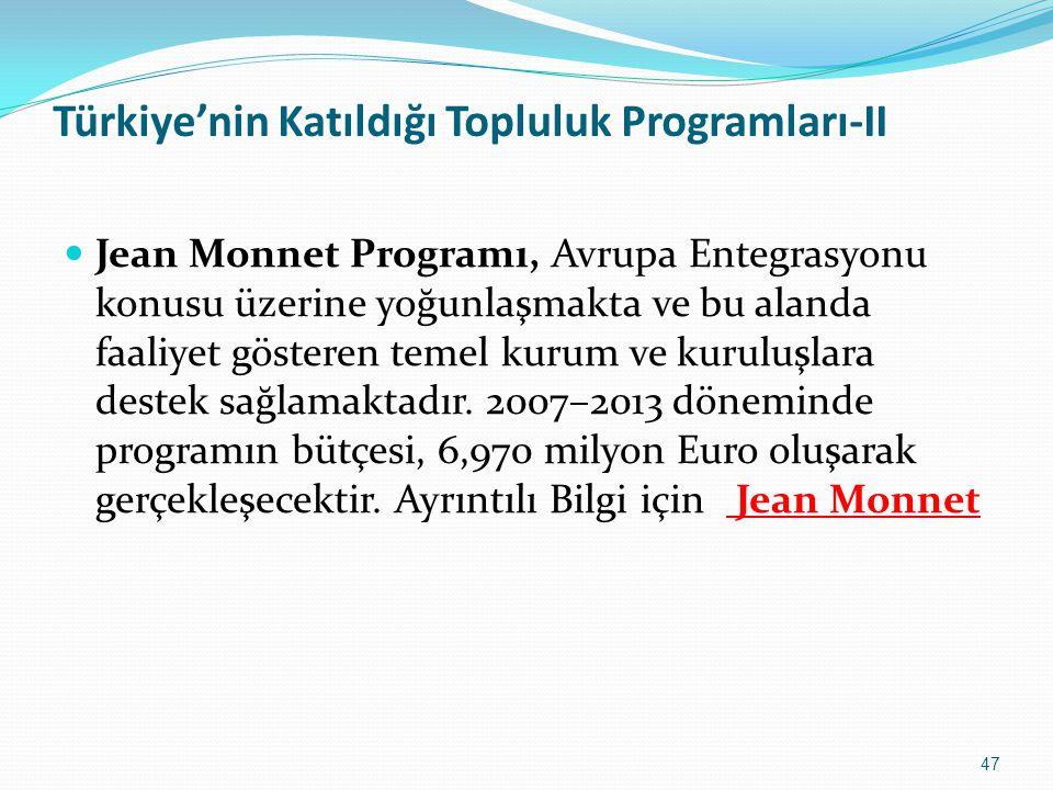 Türkiye'nin Katıldığı Topluluk Programları-II