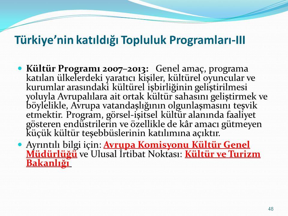 Türkiye'nin katıldığı Topluluk Programları-III