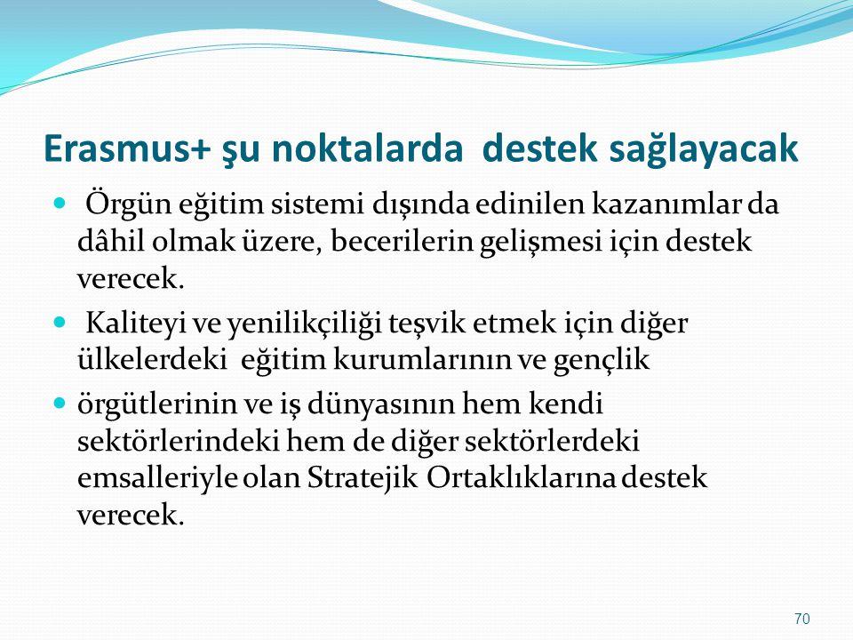Erasmus+ şu noktalarda destek sağlayacak
