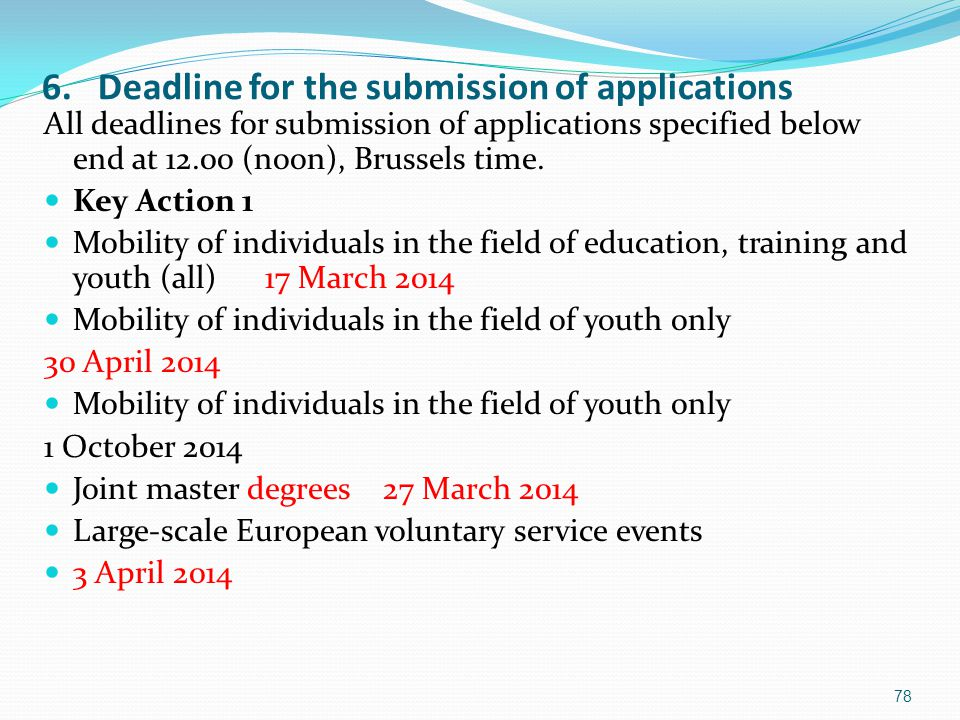 6. Deadline for the submission of applications