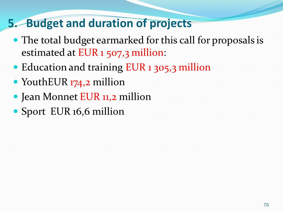5. Budget and duration of projects