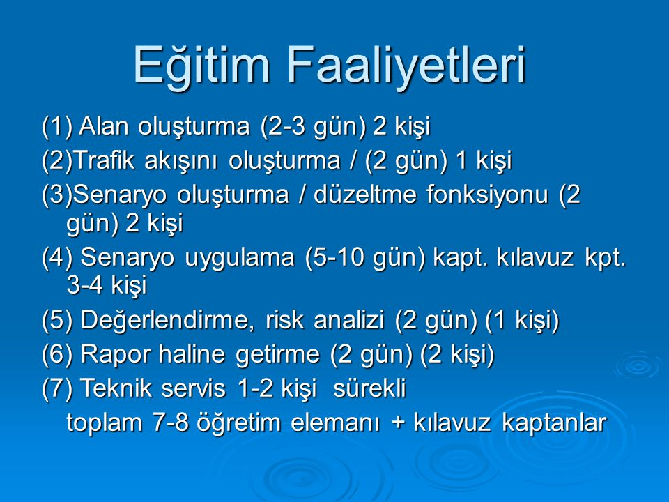 Eğitim Faaliyetleri (1) Alan oluşturma (2-3 gün) 2 kişi