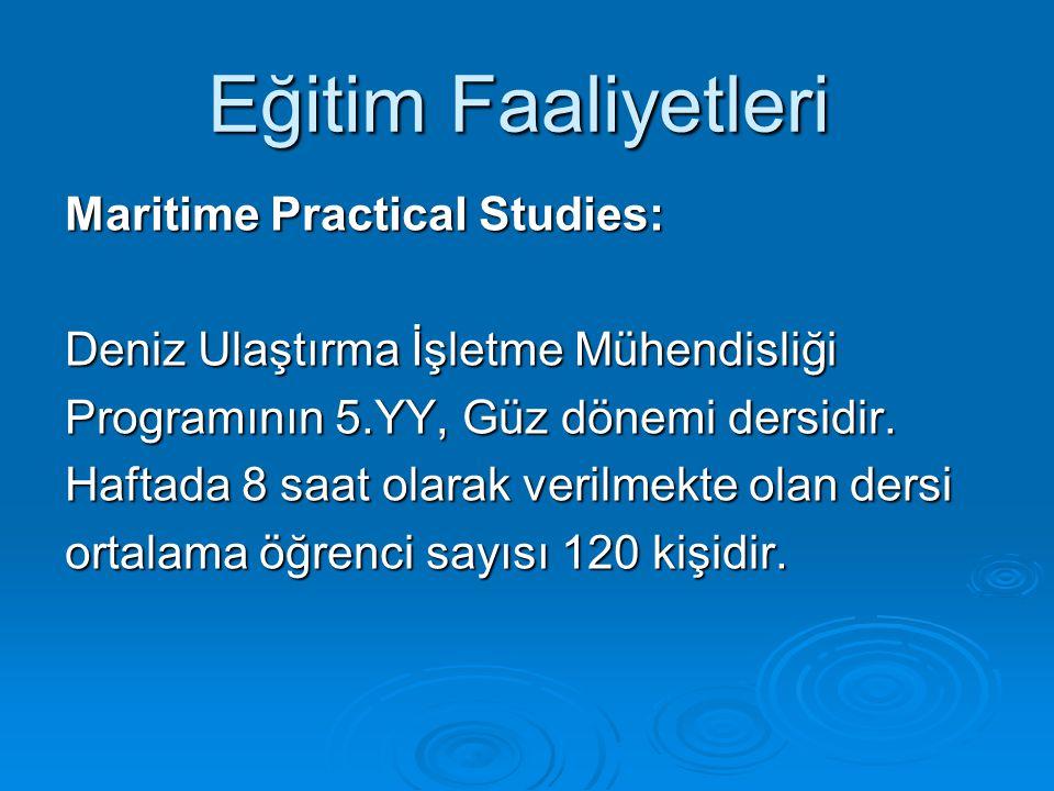 Eğitim Faaliyetleri Maritime Practical Studies:
