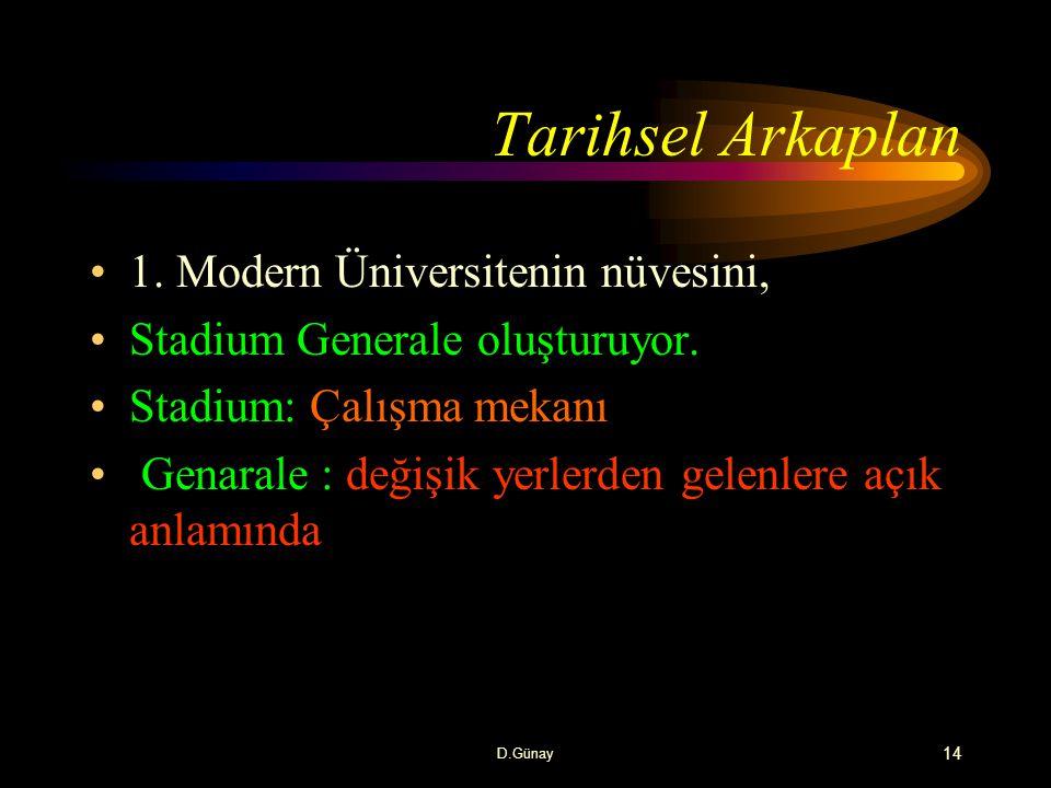 Tarihsel Arkaplan 1. Modern Üniversitenin nüvesini,