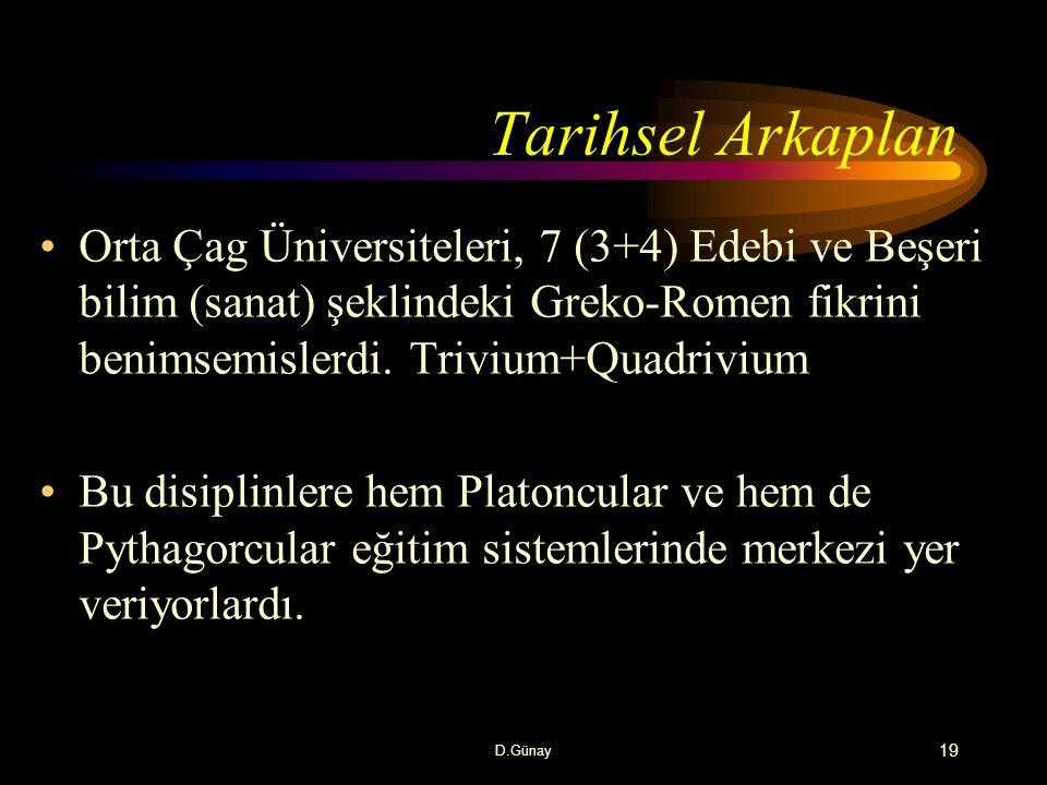 Tarihsel Arkaplan Orta Çag Üniversiteleri, 7 (3+4) Edebi ve Beşeri bilim (sanat) şeklindeki Greko-Romen fikrini benimsemislerdi. Trivium+Quadrivium.