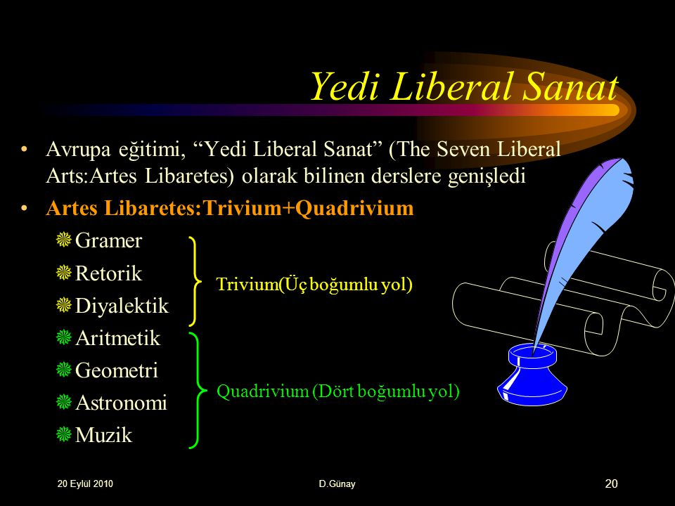 Yedi Liberal Sanat Avrupa eğitimi, Yedi Liberal Sanat (The Seven Liberal Arts:Artes Libaretes) olarak bilinen derslere genişledi.