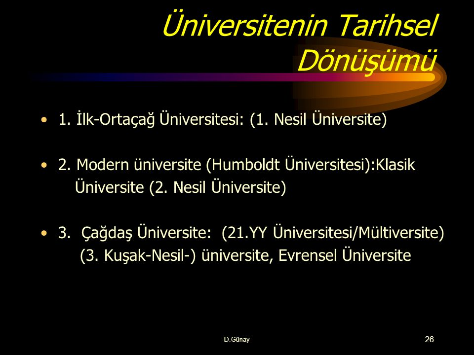 Üniversitenin Tarihsel Dönüşümü