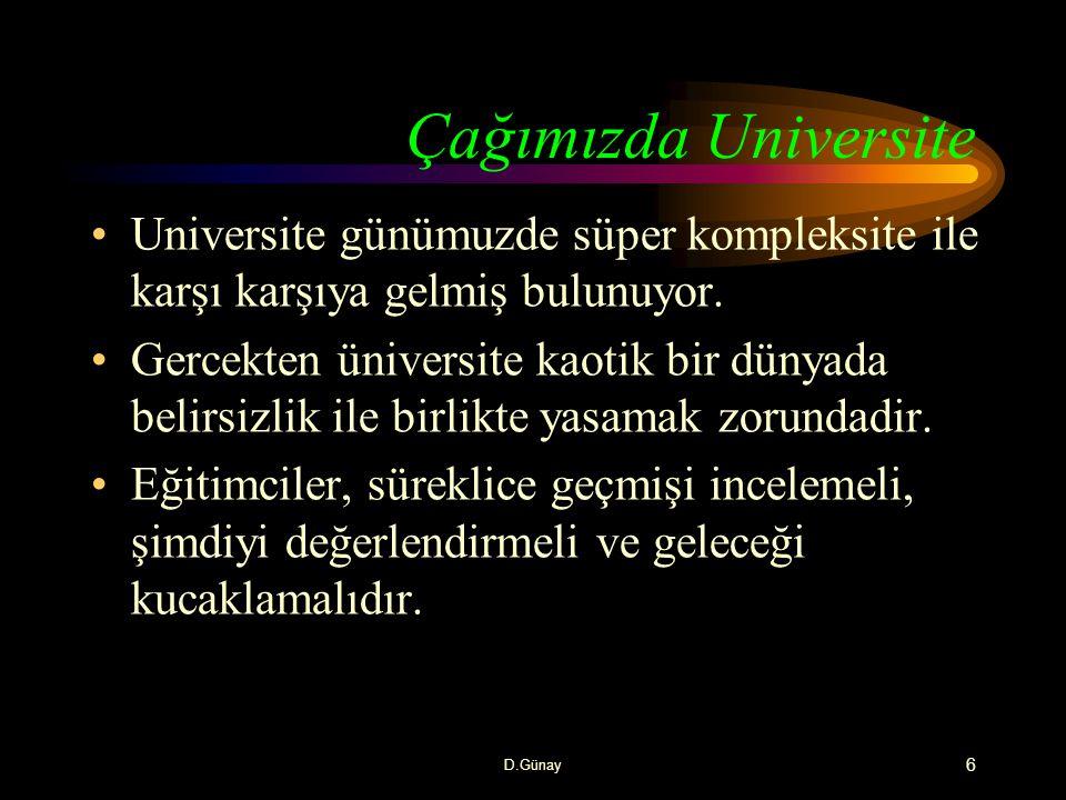 Çağımızda Universite Universite günümuzde süper kompleksite ile karşı karşıya gelmiş bulunuyor.