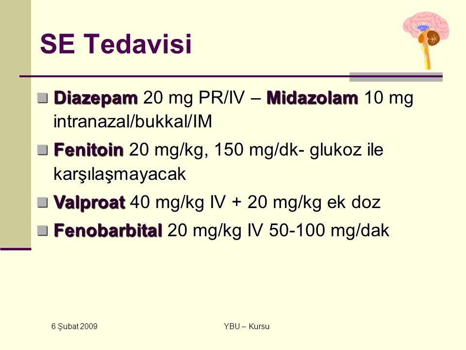 SE Tedavisi Diazepam 20 mg PR/IV – Midazolam 10 mg intranazal/bukkal/IM. Fenitoin 20 mg/kg, 150 mg/dk- glukoz ile karşılaşmayacak.