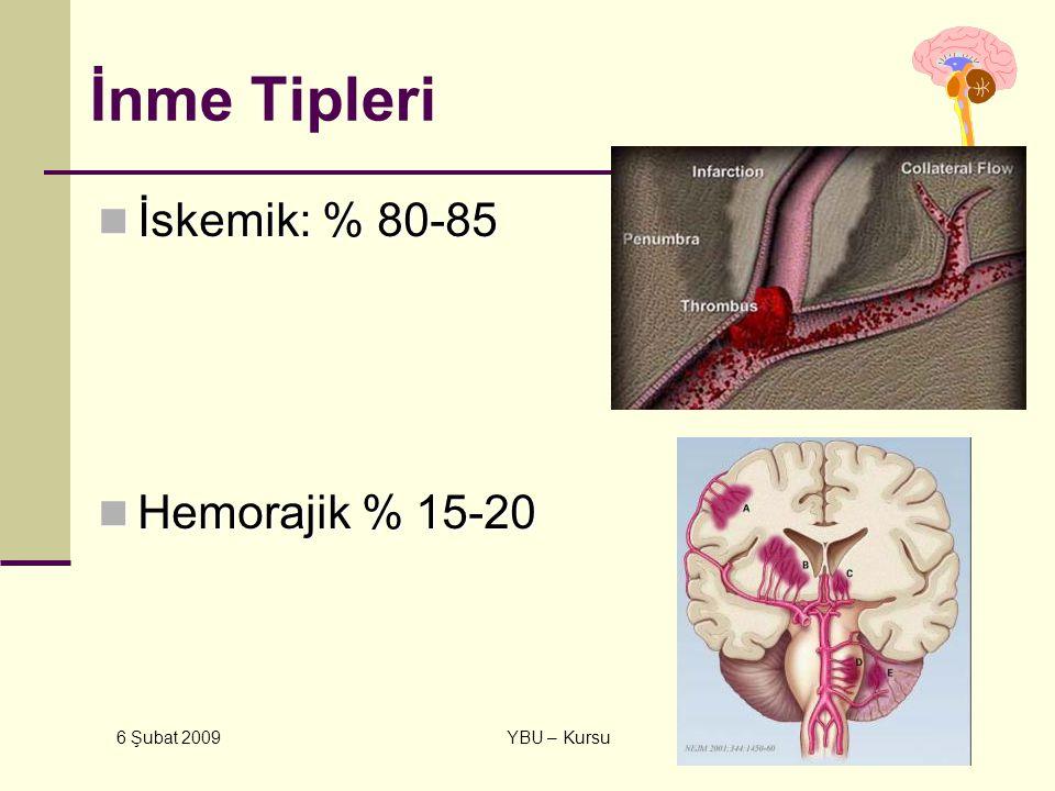 İnme Tipleri İskemik: % 80-85 Hemorajik % 15-20 6 Şubat 2009