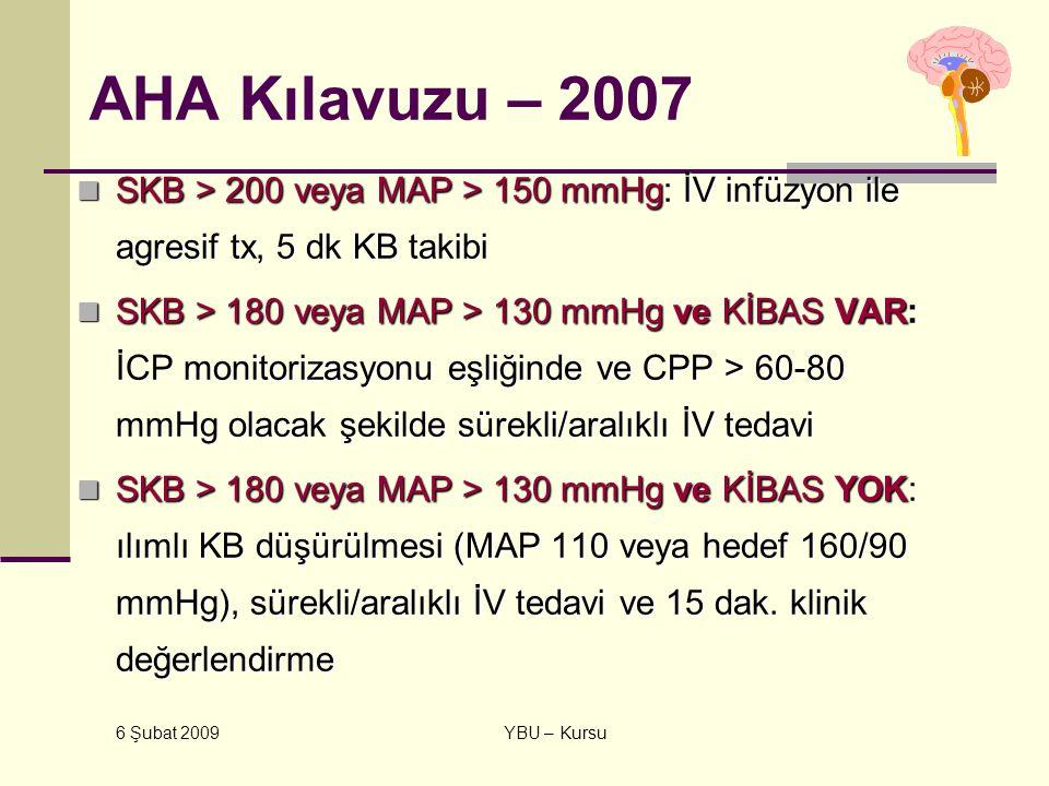 AHA Kılavuzu – 2007 SKB > 200 veya MAP > 150 mmHg: İV infüzyon ile agresif tx, 5 dk KB takibi.