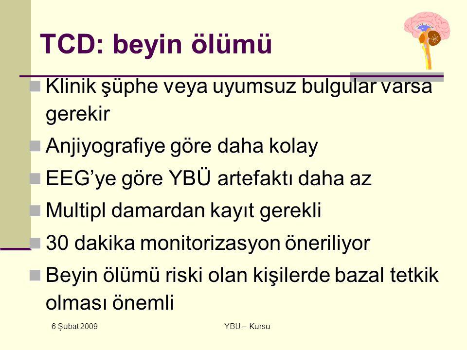 TCD: beyin ölümü Klinik şüphe veya uyumsuz bulgular varsa gerekir
