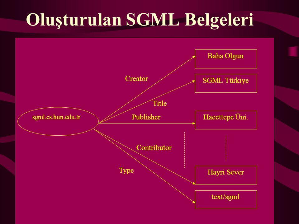Oluşturulan SGML Belgeleri