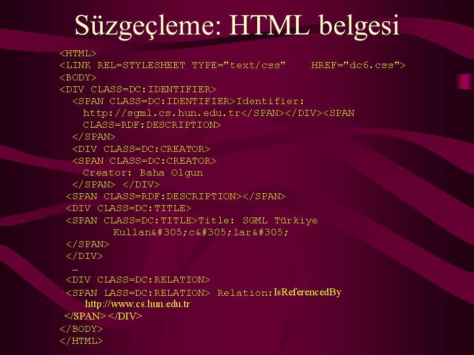 Süzgeçleme: HTML belgesi