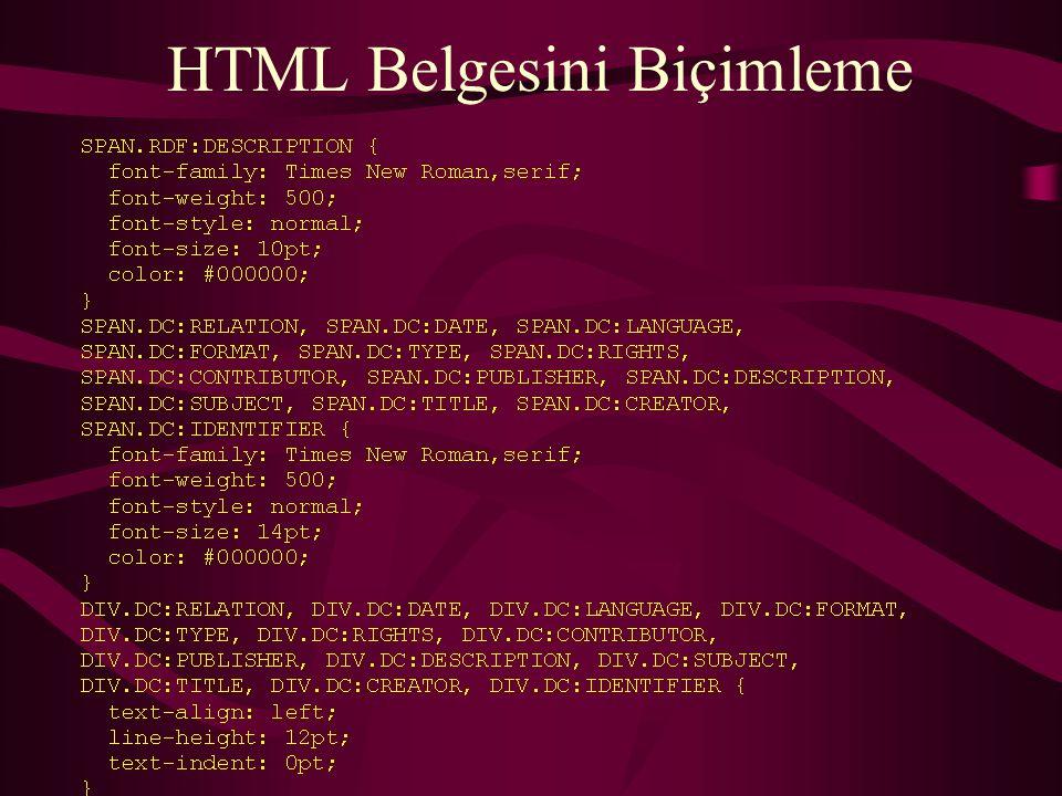 HTML Belgesini Biçimleme
