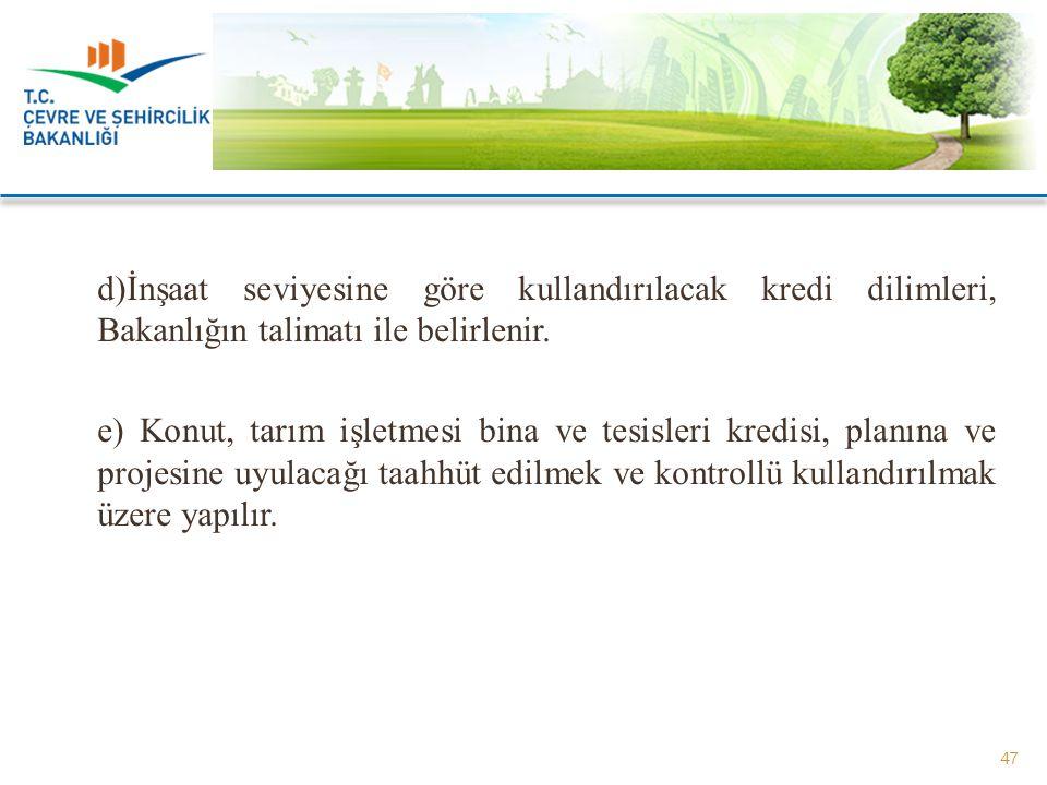 d)İnşaat seviyesine göre kullandırılacak kredi dilimleri, Bakanlığın talimatı ile belirlenir.