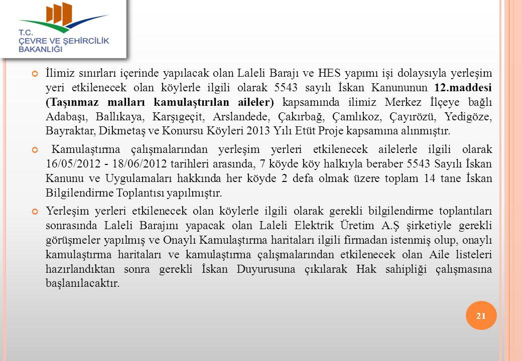 İlimiz sınırları içerinde yapılacak olan Laleli Barajı ve HES yapımı işi dolaysıyla yerleşim yeri etkilenecek olan köylerle ilgili olarak 5543 sayılı İskan Kanununun 12.maddesi (Taşınmaz malları kamulaştırılan aileler) kapsamında ilimiz Merkez İlçeye bağlı Adabaşı, Ballıkaya, Karşıgeçit, Arslandede, Çakırbağ, Çamlıkoz, Çayırözü, Yedigöze, Bayraktar, Dikmetaş ve Konursu Köyleri 2013 Yılı Etüt Proje kapsamına alınmıştır.