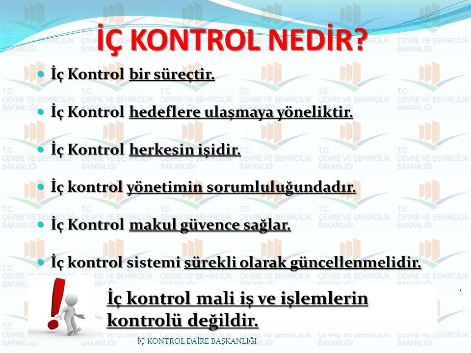 İÇ KONTROL NEDİR İç kontrol mali iş ve işlemlerin kontrolü değildir.