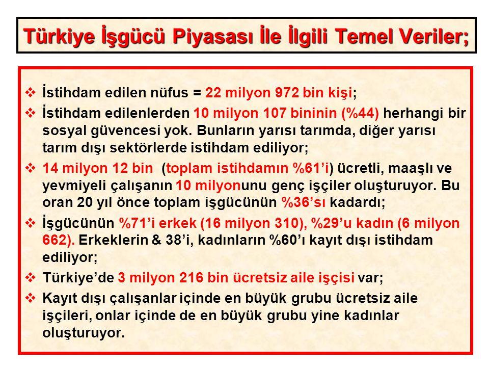 Türkiye İşgücü Piyasası İle İlgili Temel Veriler;