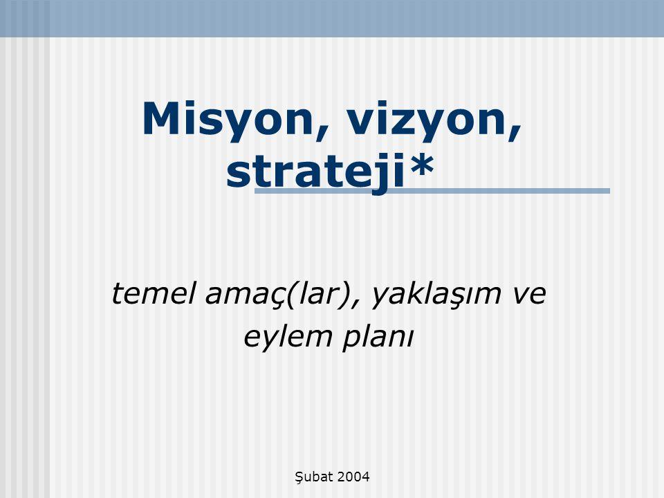 Misyon, vizyon, strateji*