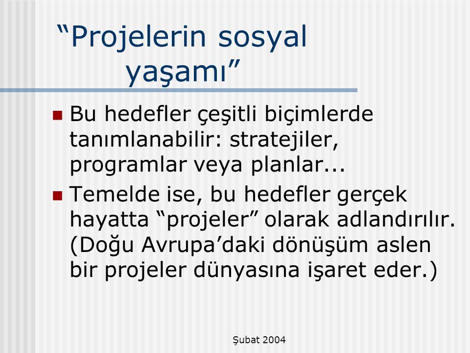Projelerin sosyal yaşamı