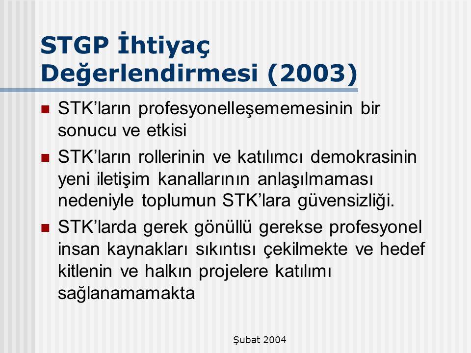 STGP İhtiyaç Değerlendirmesi (2003)