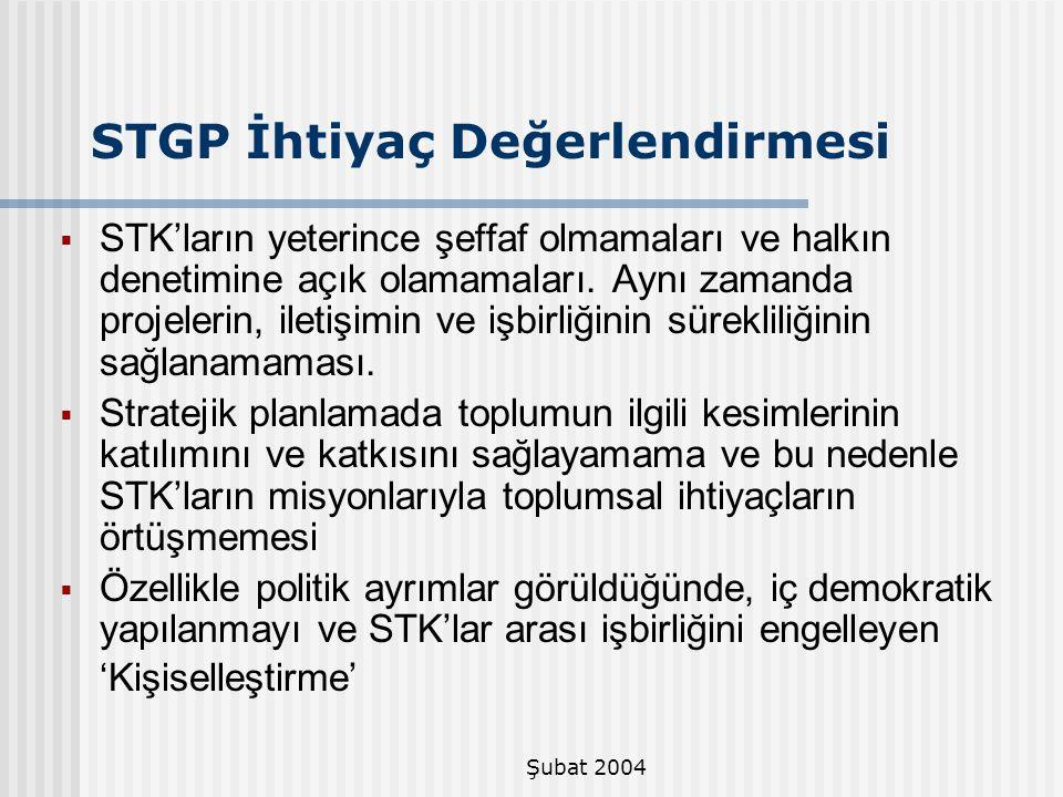 STGP İhtiyaç Değerlendirmesi
