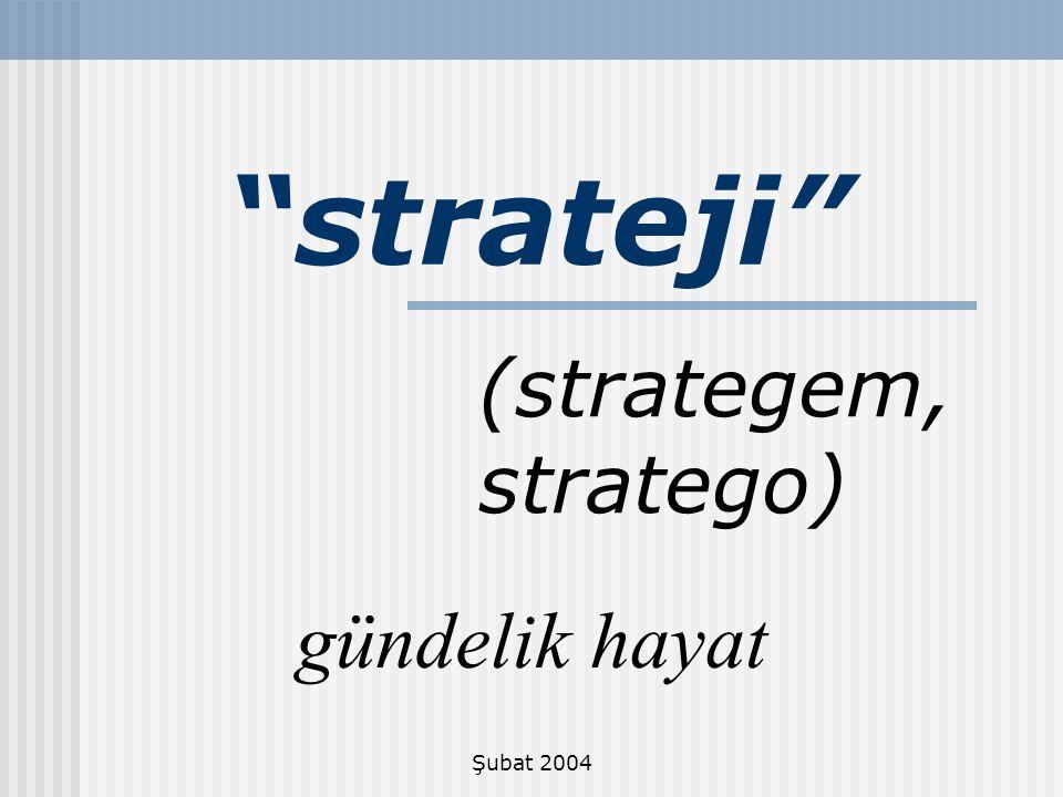 strateji (strategem, stratego) gündelik hayat Şubat 2004